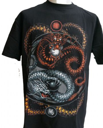 Brown And Silver Dragons T Shirt  With Large Back Print